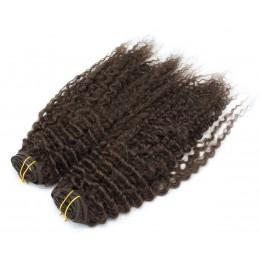 Kučeravý clip in maxi set 53cm pravé ľudské vlasy - REMY 200g - tmavo hnedá