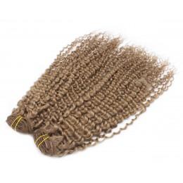 Kučeravý clip in maxi set 53cm pravé ľudské vlasy - REMY 200g - svetlo hneda