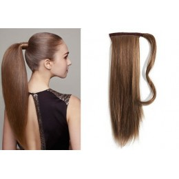 Clip in příčesek culík/cop 100% lidské vlasy 50cm - středně hnědý