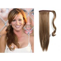 Clip in příčesek culík/cop 100% lidské vlasy 50cm - světle hnědý