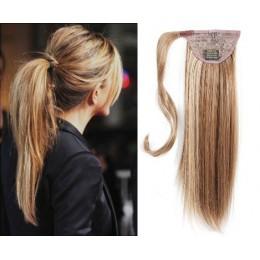 Clip in příčesek culík/cop 100% lidské vlasy 50cm - světlý melír