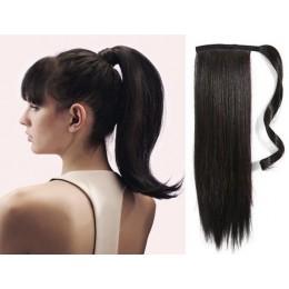 Clip in příčesek culík/cop 100% lidské vlasy 60cm - přírodní černý