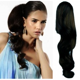 Clip in vlnitý příčesek/culík/cop 100% lidské vlasy 50cm - černý