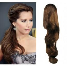 Clip in vlnitý příčesek/culík/cop 100% lidské vlasy 50cm - středně hnědý