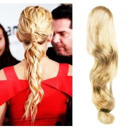 Clip in vlnitý příčesek/culík/cop 100% lidské vlasy 50cm - nejsvětlejší blond