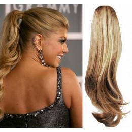 Clip in vlnitý příčesek/culík/cop 100% lidské vlasy 50cm - přírodní/světlejší blond