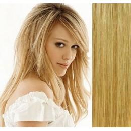 Clip in maxi set 73cm pravé lidské vlasy – REMY 280g – PLATINA/SVĚTLE HNĚDÁ