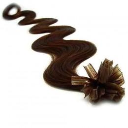 Vlnité vlasy k prodlužování keratinem 50cm - tmavě hnědé