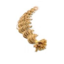 Vlasy európskeho typu na predlžovanie keratínom 50cm kučeravé - prírodná blond