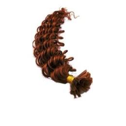 Vlasy európskeho typu na predlžovanie keratínom 50cm kučeravé - medená