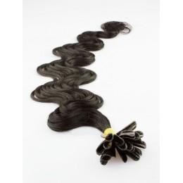 Vlnité vlasy k prodlužování keratinem 60cm - přírodní černé