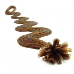Vlnité vlasy k prodlužování keratinem 60cm - světle hnědé