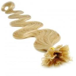 Vlnité vlasy k prodlužování keratinem 60cm - přírodní blond