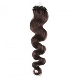 Vlasy pre metódu Micro Ring / Easy Loop 50cm vlnité - tmavo hnedá