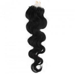 Vlasy pre metódu Micro Ring / Easy Loop 60cm vlnité - čierne