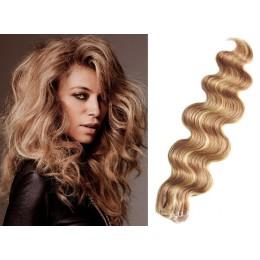 Vlnité vlasy pro metodu TapeX / Tape Hair / Tape IN 50cm - přírodní / světlejší blond
