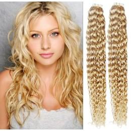 Kudrnaté vlasy pro metodu TapeX / Tape Hair / Tape IN 50cm - nejsvětlejší blond