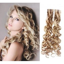 Kudrnaté vlasy pro metodu TapeX / Tape Hair / Tape IN 50cm - platina / světle hnědá