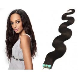 Vlnité vlasy pro metodu TapeX / Tape Hair / Tape IN 60cm - přírodní černé