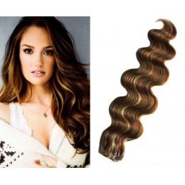 Vlnité vlasy pro metodu TapeX / Tape Hair / Tape IN 60cm - tmavý melír