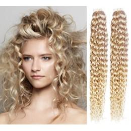 Kudrnaté vlasy pro metodu TapeX / Tape Hair / Tape IN 60cm - platina
