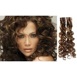 Kudrnaté vlasy pro metodu TapeX / Tape Hair / Tape IN 60cm - tmavý melír