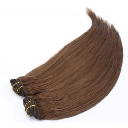 Clip in maxi set 53cm pravé ľudské vlasy - REMY 200g - stredne hnedá